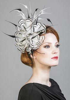 Rachel Trevor Morgan Millinery Spring Summer 2016 R16103 Black and white feather flower headdress