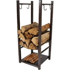 The Sunnydaze Decor Indoor / Outdoor Firewood Log Rack with Tool Holder provides a convenient place to store your firewood and fire pit accessories. Firewood Logs, Firewood Holder, Firewood Storage, Stove Accessories, Fire Pit Accessories, Fireplace Accessories, Log Holder, Tool Holders, Fire Pit Tools