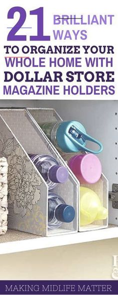 Dollar Store Magazine Holder Organization Tips | Making Midlife Matter - #organizationideasforthehome - Looking for an easy way to get your home in order? These Dollar Store magazine holder organization tips will show you how to get creative with your space!... Organisation Hacks, Organizing Hacks, Pantry Organization, Cleaning Hacks, Diy Hacks, Magazine Organization, Deep Cleaning, Organizing Clutter, School Organization