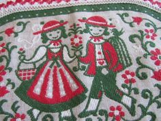 Vtg SWEDISH Linen Doily Candle Mat REDS Greens TRADITIONAL COSTUME Bunad