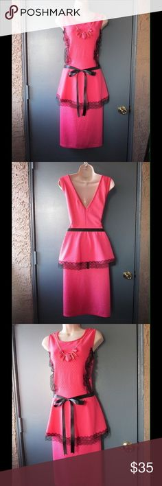 Chic Pink Peplum Dress W/Necklace-Lace Trim & Belt NWOT. This dress is super elegant. Amazing design and exquisite decoration. Black lace trim ornaments. Belt and necklace included. stretchy Material. Size 1X - 18 - Save $$$ on bundles. Dresses Midi