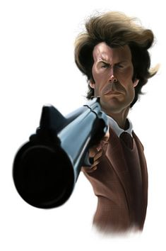 """""""Dirty"""" Harry Callahan (played by Clint Eastwood). Funny Face Drawings, Funny Faces, Caricature Artist, Caricature Drawing, Funny Caricatures, Celebrity Caricatures, Clint Eastwood, Cartoon Faces, Cartoon Art"""