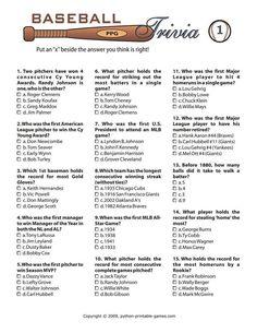 Printable Baseball Trivia Game