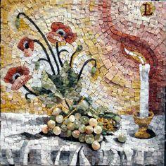 """Uva e Candela"" Mosaico in altorilievo in marmi policromi, onici, nero belgio, nero marquinia, petit granit,pierte preziose, pirite,bianco statuario ""Michelangelo"" ""Grapes and Candle"" Mosaic in high relief polychrome marble, onyx, black belgium, black marquinia petit granit, pierte precious, pyrite, white statuary ""Michelangelo"""