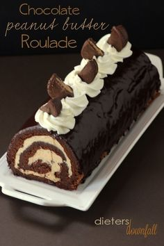 Chocolate and Peanut Butter Roulade made with homemade peanut butter and PB cups. For serious peanut butter lovers only! Chocolate and Peanut Butter Roulade made with homemade peanut butter and PB cups. For serious peanut butter lovers only! Chocolate Roulade, Chocolate Roll Cake, Chocolate Desserts, Lindt Chocolate, Chocolate Crinkles, Chocolate Smoothies, Chocolate Shakeology, Chocolate Drizzle, Chocolate Frosting
