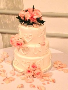 Pink Roses and Hearts Wedding Cake!