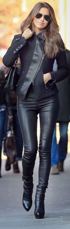 Leather pants and diagonal zipper closure on jacket