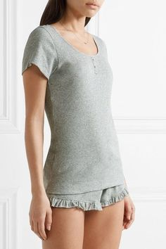 Skin - Ruffle-trimmed Ribbed Pima Cotton Pajama Shorts - Light gray - 0