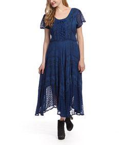 Love this Blue Embroidered Tie-Waist Dress on #zulily! #zulilyfinds