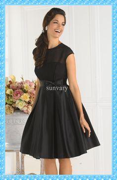 Cheap Cocktail Dress - Discount Simple Cheap Black Cocktail Dress a Line Jewel Online with $90.08/Piece | DHgate
