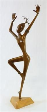 HAGENAUER WIEN WERKSTATTE WOOD DANCER SCULPTURE Franz Hagenauer (AUSTRIAN, 1906-1986) for Hagenauer Wein Werkstätte, (AUSTRIAN, ESTABLISHED 1898) hand carved sculpture depicting a dancing girl constructed of wood with brass hair and upper arm bracelet to left arm. Mounted on triangular carved and tapered wooden base. Fully hallmarked to bottom of base. Circa mid 20th century.