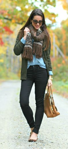 Cute casual fall outfit idea! J.Crew olive cardigan sweater with chambray oxford, black skinny jeans, Ralph Lauren knitted scarf, and leopard flats.