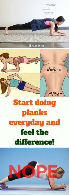 It isn't easy to do planks correctly, you must have strong muscles and exercise regularly. Planking is one very beneficial exercise for your whole body because it supports the spine and helps you to have a proper body posture. Plank Everyday, Fitness Diet, Health Fitness, Belly Exercises, Muffin Top, I Work Out, Stay Fit, Beauty Tips, Workouts