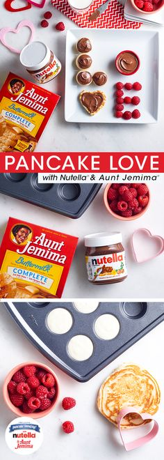 "Looking for a breakfast idea the whole family will LOVE? Fill a mini muffin tin with Aunt Jemima® batter and cook at 325˚F for 15 minutes. While those are baking, whip up a smaller pancake and cut using a heart-shaped mold to create your ""V."" Spread both creations with Nutella® and begin assembling. This Valentine's Day, love is in the air AND on your plate."