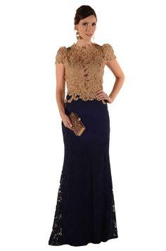 Aluguel Vestido Renda Dourado e Marinho - aluguel-vestidos-longos-aluguel-vestido-renda-dourado-e-marinho