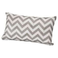 """Add plush comfort to your porch or patio with this indoor/outdoor lumbar pillow, showcasing a chic gray chevron motif.  Product: PillowConstruction Material: Polyester cover and poly-fiber fillColor: GrayFeatures:  Made in the USARemovable coverInsert included Suitable for both indoor and outdoor use Dimensions: 12"""" x 20""""Cleaning and Care: Wash cover on warm and tumble dry low"""