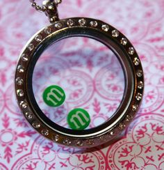 Green M & M Chocolate Candy Inspired Floating Charms by RepliKitty, $3.00