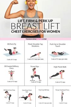 This exercise routine will perk up your breasts easily at home. No equipment needed for this home workout which will transform your body and give you a natural breast lift. Get rid of back fat and try these chest exercises for women to give your bust line Fitness Workouts, Gym Workout Tips, Beginner Workouts, Fitness Workout For Women, Body Fitness, Workout For Beginners, Fitness Tips, Bodyweight Back Workout, Dumbbell Chest Workout