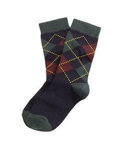 Navy Argyle Socks