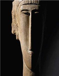 Modigliani - Tête Amedeo Modigliani, Pablo Picasso, Italian Painters, Modern Sculpture, Land Art, Art Object, Stone Art, Figurative Art, Oeuvre D'art