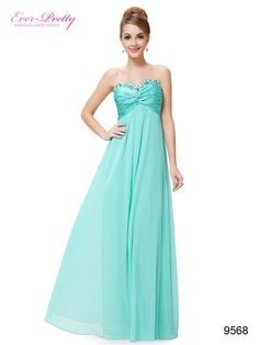 Rhinestones Ruffles Crystal Beads Light Blue Evening Dress