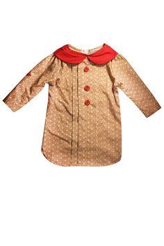 Little Babushka - Red collar cream shirt dress