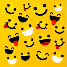 Yellow background with expressive faces Free Vector