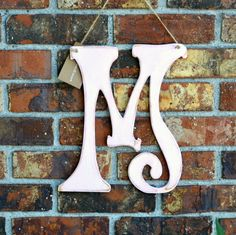 12 Wooden Letter M Funky Font Distressed Pink  by gracegraffiti, $30.00