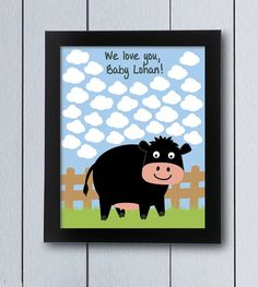 This lovely cow picture will keep the signatures from family and friends as a nice souvenir from your party. Include it in the baby book or decorate