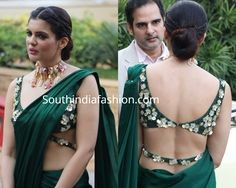 Ihana Dhillon attended an event recently wearing a plain green pre-stitched saree with matching floral embellished cut out blouse by Payal Keyal. Saree Blouse Neck Designs, Fancy Blouse Designs, Saree Blouse Patterns, Designer Blouse Patterns, Lehenga Designs, Stylish Blouse Design, Indian Designer Outfits, Designer Dresses, Bridal Outfits