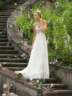 Empire Waist Sweetheart Chiffon Wedding Dress with Beading Sequins