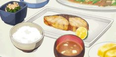 I'm just someone who wants to eat anime food. Sushi Recipes, Real Food Recipes, Yummy Food, Anime Bento, Food Cartoon, Cafe Food, Food Drawing, Aesthetic Food, Food Illustrations