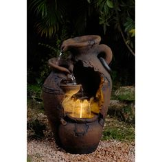 Jeco Old-Fashioned Pot LED-Lit Water Fountain, Brown (Glass), Outdoor Décor