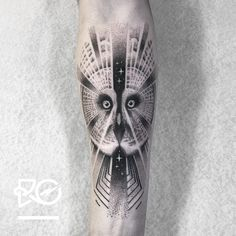 amazing bw geometric owl tattoo idea