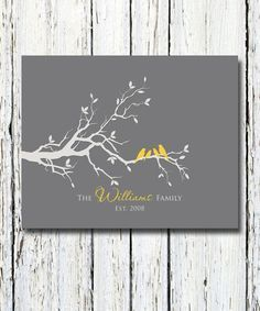 Personalized Custom Love Bird Family Tree Branch, Family Names and Date,Housewarming Gift, Wall Art Print 8 x 10 Custom colors and fonts