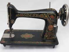 Antique Industrial Singer Sewing Machine Model 66 Red Eye Cast Iron Heavy Duty