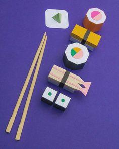 Sushi.  Materials: Paper, (chopsticks). #sushi#sushitime#sushiroll#makizushi#futomaki#hosomaki#kappamaki#nigiri#sashimi#maki#tamago#wasabi#ebi#amaebi#shrimp#鮨#巻き寿司#握り寿司#papercraft#papermodel#lowpoly