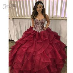 Elegant Sweetheart 2019 Women Quinceanera Dresses Organza Ruffles Ball Gown for Sweet 16 Girls Hot Party Gown – Winter Dresses Bloğ Long Prom Gowns, Plus Size Prom Dresses, Ball Gowns Prom, Ball Gown Dresses, Pageant Dresses, Party Gowns, 15 Dresses, Short Prom, Formal Dresses