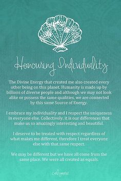 Affirmation - Honouring Individuality by CarlyMarie: