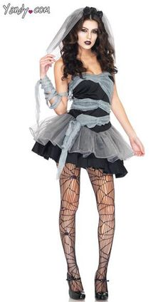 Til death do you part is taken to another level with this three-piece, Dead and Buried Bride costume which includes a mini dress with wrap, clear straps and a veil headpiece. (Stockings and shoes not included.)