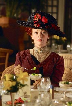 """Frances Fisher in """"Titanic""""- (1997), The hat is currently being stored in the 20th Century Fox Studio Archives and the dress is in the collection of the Western Costume Company in Los Angeles, California."""