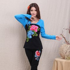 Impressive Peony Flower Embroidery Mandarin Style Shirt - Black - Chinese Shirts & Blouses - Women