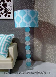 1:6th Scale Barbie or Blythe miniature dollhouse hand made floor lamp in aqua and white: