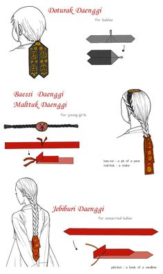 "There are so many ""Daenggi""s,so I decided not to explain all of daenggiand to draw these as women's position or case. These 3 kinds of hairstyle are generally called""hair braided behind the ears"".f..."