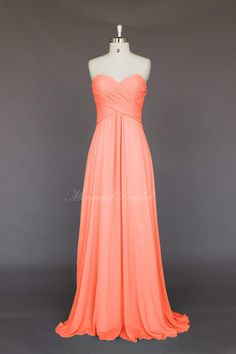 Salmon Simple style Chiffon Long Bridesmaid Dress, Bridesmaid gown, wedding party dress With Sweetheart Neckline