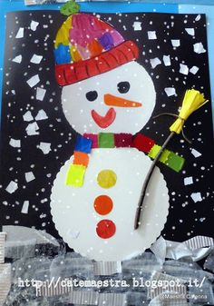 Maestra Caterina: Pupazzi di neve... Winter Kids, Christmas Crafts For Kids, Kids Crafts, Diy And Crafts, Arts And Crafts, Projects For Kids, Art Projects, Primary School Art, Disney Home Decor