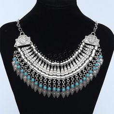 Vintage Coin Statement Necklace, Zinc Alloy, with iron chain & Resin, antique silver color plated, oval chain, blue