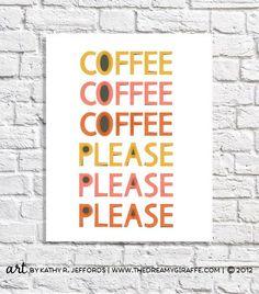 Coffee Lover Gift Idea Wall Art Print Retro by thedreamygiraffe