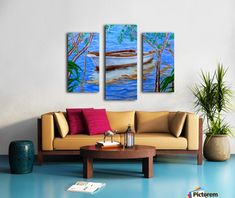Triptych, 3 split, stretched, canvas, multi panel, prints, painting, boat,nautical,marine,skiff,sea,scene,seascape,waterscape,trees,nature,calm,reflections,light,sun,shine,moored,anchored,bay,island,fishing,rope,outdoors,holidays,vacation,summer,mood,happy,poetic,romantic,nostalgic,serene,peaceful,tranquil,calm,beautiful,cool,vibrant,vivid,colors,colours,aqua,blue,colorful,shades,in,on,by,at,of,the,fine,art,oil,artworks,images,decor,artistic,items,products,for sale,pictorem,shades of summer