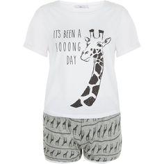 New Look Teens Grey Giraffe Print Pyjama Set (20 AUD) ❤ liked on Polyvore featuring intimates, sleepwear, pajamas, grey, giraffe print pajamas, giraffe pajamas, giraffe pjs, short sleeve pajama set and short sleeve pajamas